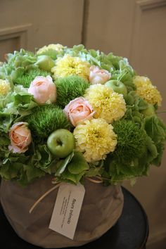 hydrangea,rose,marigolds,green apple