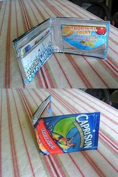 Capri Sun wallets! So cool! Jm kinda reminds me of the duct tape wallets that Natalie did.