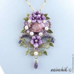 Beautiful flower jewelry by Alina Bondarenk-Bondarenko is jewelry artist from Russia. She makes beautiful jewelry with polymer clay flowers, glass beads, gemstones and wire Polymer Clay Pendant, Polymer Clay Jewelry, I Love Jewelry, Jewelry Making, Flower Jewelry, Beaded Jewelry Designs, Handmade Jewelry, Polymer Clay Embroidery, Polymer Clay Flowers