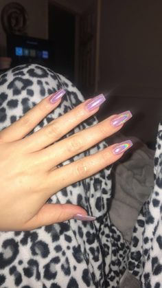 Pink holographic coffin nails