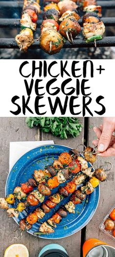 These grilled chicken and veggie skewers are an easy camping meal!