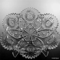 "Dorflinger Blank ABP American Brilliant Cut Glass Fruit Bowl Centerpiece 11""x10"""