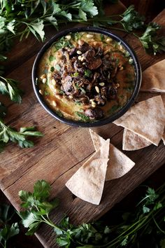 This recipe for Israeli hummus with mushrooms and caramelized onion looks amazing!