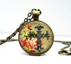 Cross Floral Necklace Glass Picture Pendant Photo by Lizabettas, $14.00  Free shipping!