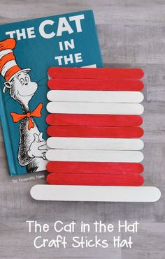 Dr Seuss The Cat in the Hat craft sticks hat craft for kids. Great craft extension to the a favorite book for Read Across America Day. Dr suess Best Picture For dr seuss crafts prek For Your Taste You Dr. Seuss, Dr Seuss Week, Hat Crafts, Craft Stick Crafts, Book Crafts, Craft Sticks, Craft Books, Popsicle Sticks, Paper Crafts