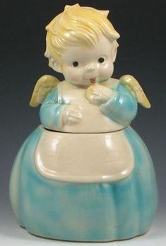 Cookie Jar; Brush Pottery, Cookie Angel, Blond Hair, 12 inch.