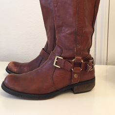 Tall leather boots bought at Nordstrom. 2 year old boots, still in good condition. They have a small heel. Miz Mooz Shoes Heeled Boots