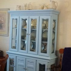 Baby blue China cabinet after