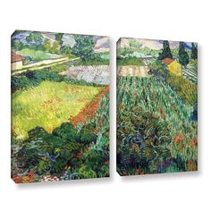ArtWall 'Vincent VanGogh's Field with Poppies' 2-piece Gallery Wrapped Set (18x24)