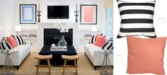 white black peach living room3