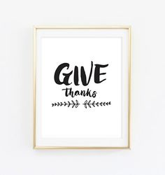 Printable  Give Thanks Thanksgiving Print Wall Art by heysweetpeas