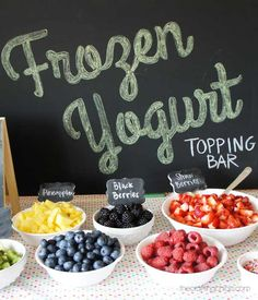 Frozen Yogurt Topping Bar - and the easy way to make Chalkboard Art