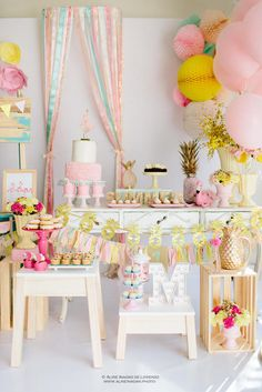 Tropical Flamingo Party, colorful, pastel color party, happy theme, summer party ideas, kids party, garden party