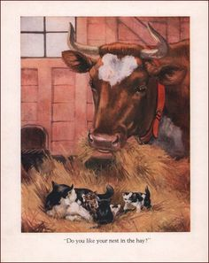 Cat & Kitten in the Cows Hay, Vintage Print, Authentic 1936 #Vintage