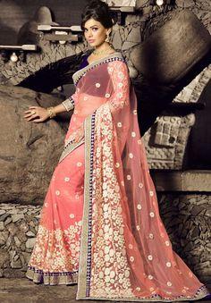 Beautiful Blush Pink Embroidered Saree