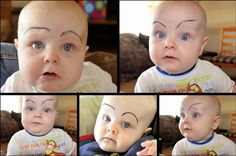 Draw Fake Eyebrows On Your Baby with Eyeliner ---- Best funny, pictures, humor, jokes, hilarious, quotes