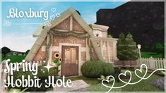 Roblox Bloxburg: Spring Hobbit Hole + Tour - February 18 2021 | Minami Oroi Hobbit Hole, The Hobbit, Simple House Plans, Roblox Pictures, Video Games, February, Hacks, Tours, How To Plan