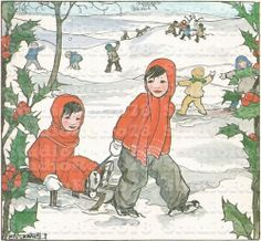 Adorable Kids playing in the snow - Vintage drawing Digital Download - Winter Digital Download - Rie Cramer Printable Image.