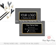 Modern Business Cards, Black and White Stripes, Gold   Custom Printable Business Card  This business card is an original design of Rose Paper Press, personalized with your information. This design can be customized for any small business owner – sales consultants, skincare or beauty consultants, massage therapists, stylists, photographers, etc. This is a high-resolution (300 dpi) digital file ready for you to print yourself. You will not receive any printed items with this purchase. I can…
