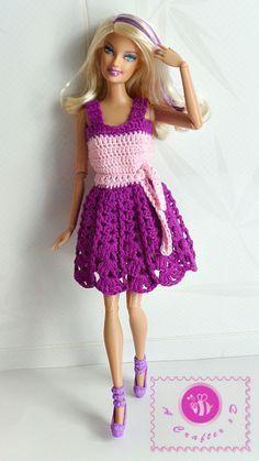 Crochet fashion doll tank dress - Maz Kwok's Designs