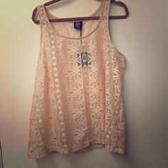 Aztec print lace tank Cute Aztec print in sheer lace / peachy apricot color. New! bobeau Tops Tank Tops