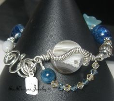 Unique Sterling Wrapped Mexican Agate Apatite Bead Hand Made Bracelet | eBay