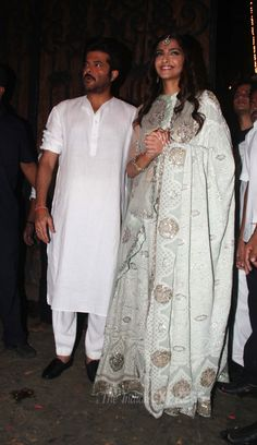 Sonam Kapoor is clearly enjoying herself as she smiles at the crowd. Also seen: Anil Kapoor while celebrating Diwali.
