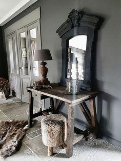Tafel spiegel kruk landelijk