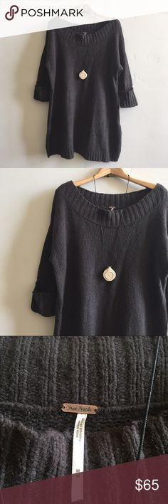 """Free People Oversized Pullover Sweater Cozy chocolate brown oversized slouchy  pullover sweater.  Features oversized collar to wear off one shoulder (see last photo) and slide slits.  Perfect with distressed light wash jeans or leggings and boots.  Cotton/ nylon/ rayon/ cashmere blend.  Chest is 48"""" and length is 32"""".  In excellent condition. Free People Sweaters"""
