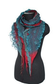 Nuno Felted Scarf Teal Red Felt Wrap Long Merino by FeltedPleasure, $118.00