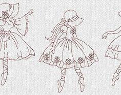 ballerina hand embroidery designs | Télécharger INSTANT B allet Sunbonnet ballerines motifs de broderie ...