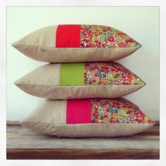 Floral Decorative Pillow - Margaret Annie Liberty Print - Bright Summer Neon Stripe Pillow (Tango, Lime, Hot Pink)