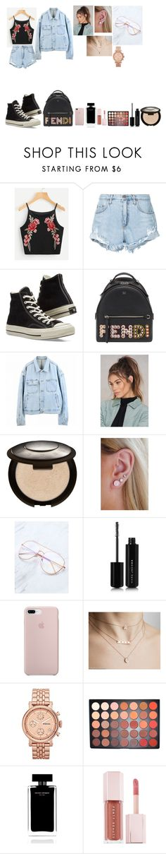 """Jeanny"" by natalielena on Polyvore featuring Nobody Denim, Converse, Fendi, Yeezy by Kanye West, NA-KD, Becca, Marc Jacobs, FOSSIL, Morphe and Narciso Rodriguez"