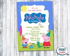 Invita a partido de Peppa Pig de invitación por PrintBubbleInvites