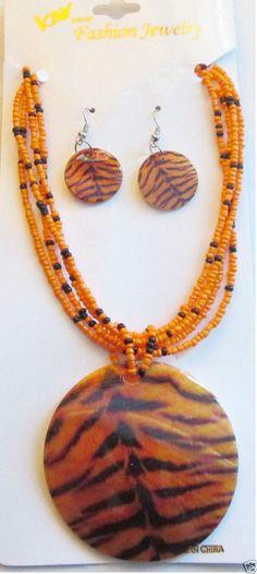US SELLER Jewelry Set Bead Necklace Orange Tiger Print Sea Shell Medallion  #KayImport