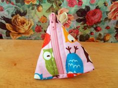 Pink Owl Coin Purse Pyramid Coin Purse Handmade by Lilmacdesigns