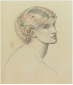 Dante Gabriel Rossetti  - ALEXA WILDING, A STUDY FOR DANTE'S DREAM  signed with monogram and dated c.l.: 1870  black, red and white chalk over pencil on grey paper