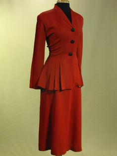 Vintage 1940s Lipstick & Heels WWII True Red Two Piece Peplum Suit Two Piece Suit Plus Size. $104.00, via Etsy.