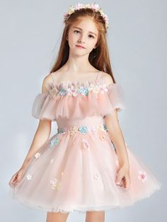 a361c7fe92d4a Flowers Mesh Applique Mini Dress Dress Anak