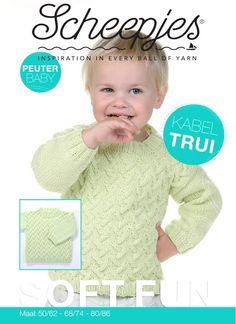 Met dit leuke patroon kun je een jongenstrui breien voor peuters en kleuters. De kabeltrui is gebreid met een lichtgroen garen van Scheepjeswol.