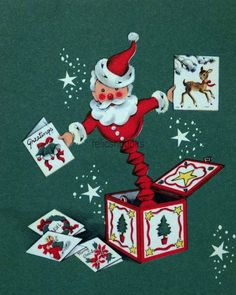 #846 50s Santa Jack-in-the-Box, Vintage Christmas Card-Greeting