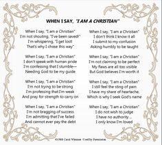 When I say I am a Christian poem inside swirled frame