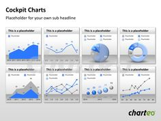A Cockpit Chart offers you to present facts and data in an easily comprehensive way on just one slide. It includes pie charts, donut charts, line charts and more. Download now at http://www.charteo.com/en/PowerPoint/Data-driven-Diagrams/Cockpit-Charts-104-PowerPoint.html