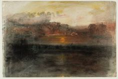 """slickwhippet: """" Joseph Mallord William Turner, Sunset amid Dark Clouds over the Sea, from The Whalers Sketchbook (ca. Watercolor Landscape Paintings, Watercolor And Ink, Nocturne, Art Romantique, Turner Watercolors, Turner Contemporary, Turner Painting, Joseph Mallord William Turner, Ciel"""