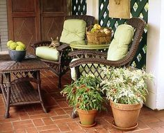 Porch furniture at P. Allen Smith's Garden Home. Visit www.pallensmith.com for more photos, recipes, and tips.
