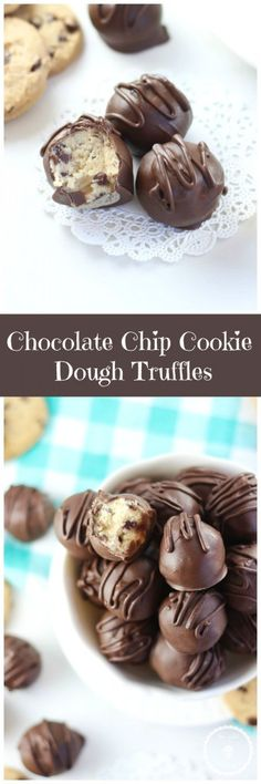 Safe-to-eat Chocolate Chip Cookie Dough Truffles! Super simple and completely delicious!