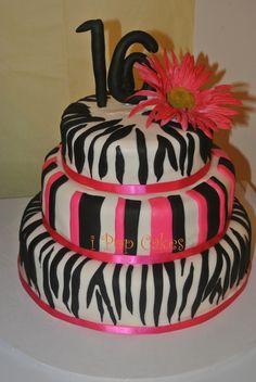 My first 3 tiered cake! Zebra Print Cakes, Sweet 16, Treats, Pop, Board, Desserts, Kids, Sweet Like Candy, Tailgate Desserts