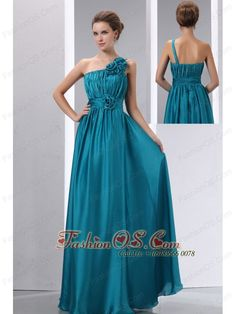 Cheap Teal Prom Dress Empire One Shoulder Hand Made Flowers and Ruch Floor-length Chiffon and Elastic Wove Satin- $128.54  www.fashionos.com  zipper up back prom dress | prom dress on sale | cheap prom dress under 150 | free shipping all over the world | inexpensive prom dress | custom made prom dresses | online prom dress store | a dress of elegance for your prom | flowing dancing dress | prom dress at discount |