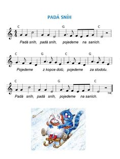 Zima              Zima. Music For Kids, Kids Songs, Winter Project, Piano, Sheet Music, Sporty, Education, Projects, Advent