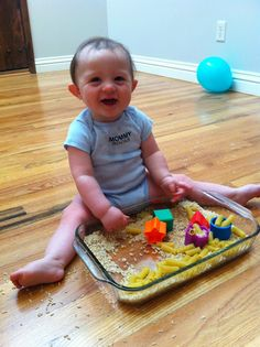 Baby Sensory Bin: Noodles, Rice, and Shapes--   I saved this because I would NOT give my baby RICE to play with lol it would be every where!  Why not here is a bag of flour and some nail polish while we are at it? lol